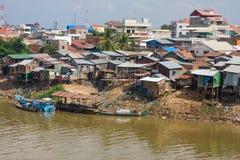 Biedny okręg w Phnom Penh, Kambodża Obrazy Stock