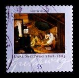` biedny poety `; Malujący Carl Spitzweg 1808-1885, 200th urodziny Carl Spitzweg seria około 2008, Obrazy Royalty Free