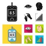 Biedny wzrok, migrena, glikoza test, insulinowa zależność Cukrzyk ustalone inkasowe ikony w czarnym, mieszkanie stylowy wektor ilustracji