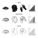 Biedny wzrok, migrena, glikoza test, insulinowa zależność Cukrzyk ustalone inkasowe ikony w czarnym, monochromatyczny, konturu st royalty ilustracja