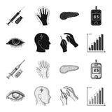 Biedny wzrok, migrena, glikoza test, insulinowa zależność Cukrzyk ustalone inkasowe ikony w czarnym, monochromu stylowy wektor ilustracja wektor