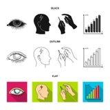 Biedny wzrok, migrena, glikoza test, insulinowa zależność Cukrzyk ustalone inkasowe ikony w czarnym, płaski, konturu styl ilustracja wektor