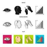 Biedny wzrok, migrena, glikoza test, insulinowa zależność Cukrzyk ustalone inkasowe ikony w czarnym, płaski, monochromu styl ilustracja wektor