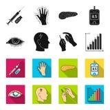 Biedny wzrok, migrena, glikoza test, insulinowa zależność Cukrzyk ustalone inkasowe ikony w czerni, fleta stylowy wektorowy symbo ilustracja wektor