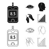 Biedny wzrok, migrena, glikoza test, insulinowa zależność Cukrzyk ustalone inkasowe ikony w czerni, konturu stylowy wektor ilustracji