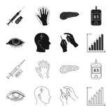 Biedny wzrok, migrena, glikoza test, insulinowa zależność Cukrzyk ustalone inkasowe ikony w czerni, konturu stylowy wektor ilustracja wektor