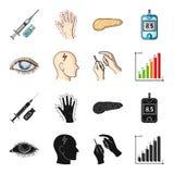 Biedny wzrok, migrena, glikoza test, insulinowa zależność Cukrzyk ustalone inkasowe ikony w czerni, kreskówka stylowy wektor royalty ilustracja