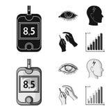 Biedny wzrok, migrena, glikoza test, insulinowa zależność Cukrzyk ustalone inkasowe ikony w czerni, monochromu stylowy wektor ilustracji
