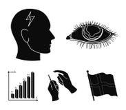 Biedny wzrok, migrena, glikoza test, insulinowa zależność Cukrzyk ustalone inkasowe ikony w czerni projektują wektorowego symbol royalty ilustracja