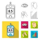 Biedny wzrok, migrena, glikoza test, insulinowa zależność Cukrzyk ustalone inkasowe ikony w konturze, mieszkanie stylowy wektor ilustracji