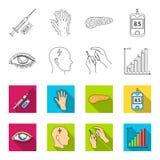 Biedny wzrok, migrena, glikoza test, insulinowa zależność Cukrzyk ustalone inkasowe ikony w konturze, mieszkanie stylowy wektor ilustracja wektor