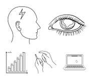 Biedny wzrok, migrena, glikoza test, insulinowa zależność Cukrzyk ustalone inkasowe ikony w konturze projektują wektorowego symbo royalty ilustracja