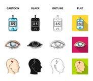 Biedny wzrok, migrena, glikoza test, insulinowa zależność Cukrzyk ustalone inkasowe ikony w kreskówce, czerń, kontur, mieszkanie ilustracji