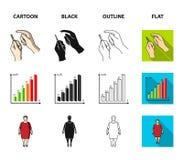 Biedny wzrok, migrena, glikoza test, insulinowa zależność Cukrzyk ustalone inkasowe ikony w kreskówce, czerń, kontur, mieszkanie royalty ilustracja
