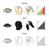 Biedny wzrok, migrena, glikoza test, insulinowa zależność Cukrzyk ustalone inkasowe ikony w kreskówce, czerń, konturu styl ilustracja wektor