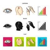 Biedny wzrok, migrena, glikoza test, insulinowa zależność Cukrzyk ustalone inkasowe ikony w kreskówce, czerń, mieszkanie styl ilustracja wektor