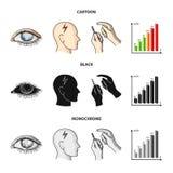 Biedny wzrok, migrena, glikoza test, insulinowa zależność Cukrzyk ustalone inkasowe ikony w kreskówce, czerń, monochromu styl royalty ilustracja