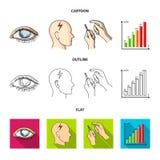 Biedny wzrok, migrena, glikoza test, insulinowa zależność Cukrzyk ustalone inkasowe ikony w kreskówce, kontur, mieszkanie styl ilustracji