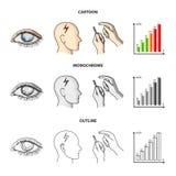 Biedny wzrok, migrena, glikoza test, insulinowa zależność Cukrzyk ustalone inkasowe ikony w kreskówce, kontur, monochrom royalty ilustracja