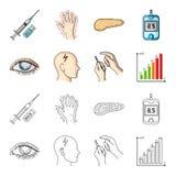 Biedny wzrok, migrena, glikoza test, insulinowa zależność Cukrzyk ustalone inkasowe ikony w kreskówce, konturu stylowy wektor ilustracja wektor