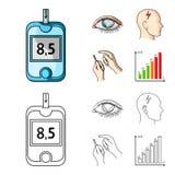 Biedny wzrok, migrena, glikoza test, insulinowa zależność Cukrzyk ustalone inkasowe ikony w kreskówce, konturu stylowy wektor ilustracji