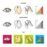 Biedny wzrok, migrena, glikoza test, insulinowa zależność Cukrzyk ustalone inkasowe ikony w kreskówce, mieszkanie, monochromu sty ilustracji