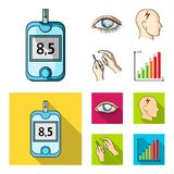 Biedny wzrok, migrena, glikoza test, insulinowa zależność Cukrzyk ustalone inkasowe ikony w kreskówce, mieszkanie stylowy wektor ilustracja wektor