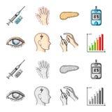 Biedny wzrok, migrena, glikoza test, insulinowa zależność Cukrzyk ustalone inkasowe ikony w kreskówce, monochromu styl ilustracji