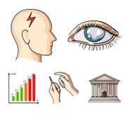 Biedny wzrok, migrena, glikoza test, insulinowa zależność Cukrzyk ustalone inkasowe ikony w kreskówce projektują wektorowego symb ilustracja wektor