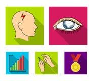 Biedny wzrok, migrena, glikoza test, insulinowa zależność Cukrzyk ustalone inkasowe ikony w mieszkanie stylu symbolu wektorowym z ilustracja wektor