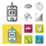 Biedny wzrok, migrena, glikoza test, insulinowa zależność Cukrzyk ustalone inkasowe ikony w monochromu, mieszkanie stylowy wektor ilustracja wektor
