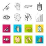 Biedny wzrok, migrena, glikoza test, insulinowa zależność Cukrzyk ustalone inkasowe ikony w monochromu, mieszkanie stylowy wektor royalty ilustracja