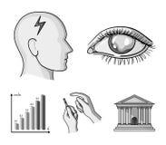 Biedny wzrok, migrena, glikoza test, insulinowa zależność Cukrzyk ustalone inkasowe ikony w monochromu projektują wektorowego sym ilustracji