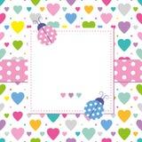 Biedronki i serca kartka z pozdrowieniami Fotografia Royalty Free