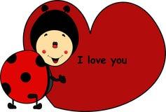 Biedronki kreskówka z sercem kocham ciebie Zdjęcia Royalty Free