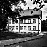 Biedrusko建筑学 在黑白的艺术性的神色 免版税库存照片