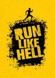 Bieg Bardzo Mocno motywaci sporta sztandar Kreatywnie Maratoński Wektorowy projekt Na Grunge Zakłopotanym tle Zdjęcie Stock