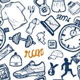 Bieg ikon wzoru bezszwowy set w doodle stylu, ręka rysunek Zdjęcie Royalty Free