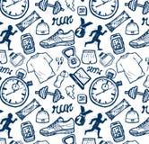 Bieg ikon wzoru set w doodle stylu, ręka rysunek Zdjęcie Royalty Free