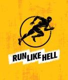 Bieg sporta motywaci Bardzo Mocno Kreatywnie pojęcie Dynamicznego bieg mężczyzna Wektorowa ilustracja Na Grunge tle Fotografia Stock
