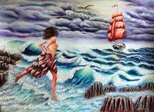 Biegać na fala Dziewczyna I nadzieja Morze, fale, żaglówka scarlet odpływa royalty ilustracja