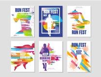 Biega fest plakaty ustawiających, sporty i rywalizacja, pojęcie, działający maraton, kolorowy projekta element dla karty, sztanda ilustracja wektor