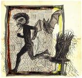 Biega ruch punków, bieg - ręka rysujący wektor, freehand kreśli royalty ilustracja