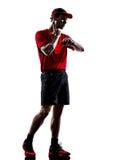 Biegaczów joggers bierze bicie serca pulsu kontrola sylwetki fotografia stock
