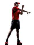 Biegaczów joggers rozciąga rozgrzewkowe up sylwetki zdjęcia royalty free