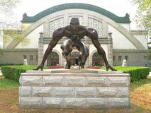Biegacz atlety Zaczyna linii statua zdjęcie royalty free