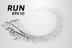 Biegacz cząsteczki Sylwetka biegacz od małych okregów również zwrócić corel ilustracji wektora Obrazy Royalty Free