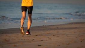 Biegacz nogi na plaży Zdjęcia Royalty Free