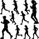 Biegacz sylwetki grupowy wektor Zdjęcie Royalty Free
