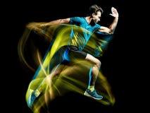 Biegacza działającego jogger jogging mężczyzna odizolowywał lekkiego obrazu czerni tło obrazy stock